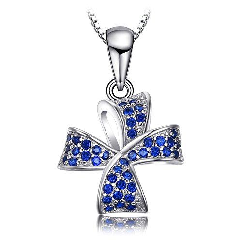 JewelryPalace Flower Knot 0.22ct Erstellt Blau Spinell Pave Anhänger Halskette 925 Sterling Silber 45 Cm