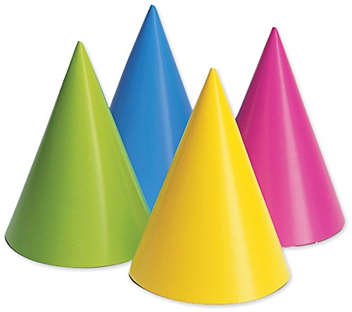 Creative Converting 20PH-0010 Party Hats, Assorted Neon, 16-Pack