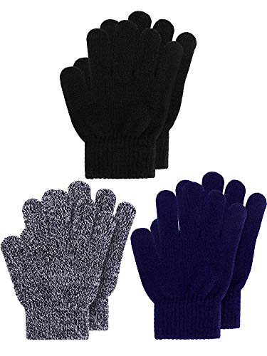 Kids Gloves Full Fingers Knitted Gloves Warm Mitten Winter Favor for Little Boys and Girls (Color Set 15, 5-10 Years Size, 3 Pairs)