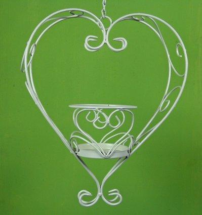 Stöberdeel Blumenampel Herz zum Hängen, mit Kette, aus Eisen in Weiß