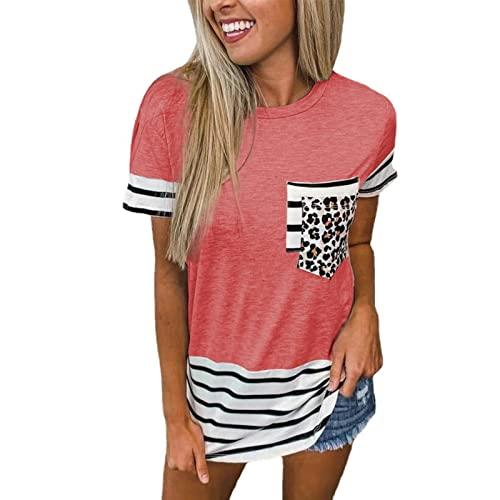 Camiseta de Manga Corta con Cuello Redondo para Mujer L