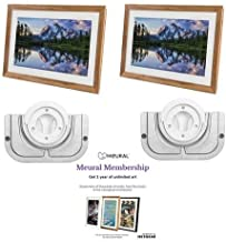 Meural Canvas - 2 Pack Winslow Walnut - with 2 Pack Meural Swivel Mount Frame Wall Mount and with Membership, One-Year Subscription to Art Library