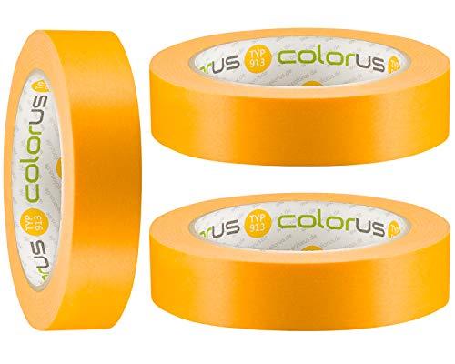 3 x Colorus Profi Maler-Goldband 25 mm x 50 m Soft Tape Klebeband | Malerband-Klebeband für scharfe Kanten beim Streichen und lackieren | Für glatte und leicht strukturierte Untergründe