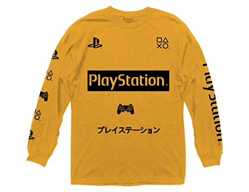 Ripple Junction Playstation Adult Unisex Symbols with Sleeve Hits Heavy Weight 100% Cotton Long Sleeve Crew T-Shirt SM Gold
