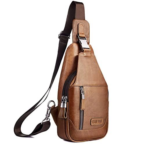 Mochila de cuero para senderismo, para hombres y mujeres, para viajes al aire libre, camping, pesca, Crossbody de hombro, mochila pequeña - marr�n -