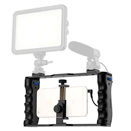 K&F Concept - Soporte Estabilizador de Smartphone para Grabar Video con Asa Compatible con Micrófono, LED Luz,Apple iPhone Samsungy Todos los teléfonos