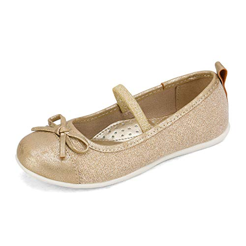 DREAM PAIRS Niñas Mary Jane Bailarina Zapatos de Vestir Planos con Elástica Gold 33 EU/2 US Little Kid SASA-3