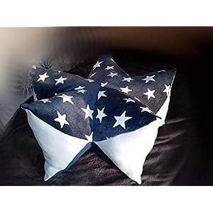 blau mit weissen Sternen Wohlfühl-Entspannungs-Sternenkissen für Hunde 70 cm