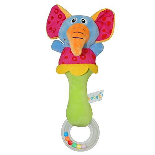 Tree-de-Life Schöne Plüsch Kuscheltier Baby Rassel Quietschende Sticks Spielzeug Handglocken für Kinder Neugeborene Geschenk Komfort - Mehrfarbiger Elefant