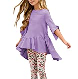 Girls T Shirts Summer Fall Cute Tops Ruffle Swing High Low Blouses (7-8Years/Height:47in, Purple)