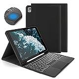 Funda con Teclado Español Trackpad para iPad 10.2 7ª/8ª Generación,iPad Air 3 2019/iPad Pro 10.5 2017, Teclado Desmontable Retroiluminado de 7 Colores, Funda para iPad 10.2 2020/2019, Negro