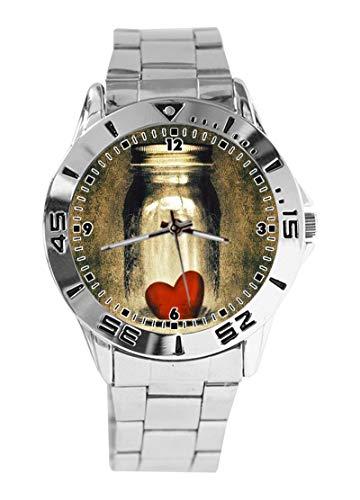 Analoge Armbanduhr mit Herz-Zitaten, individuelles Design, Quarz, silberfarbenes Zifferblatt, klassisches Edelstahl-Band, Damenuhr