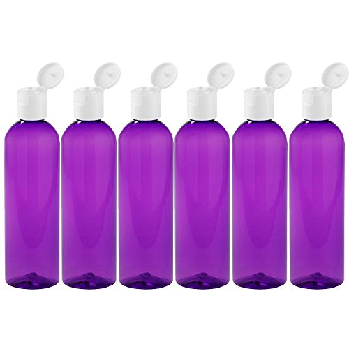 MoYo Natural Labs 4 oz Travel Bottles, Empty Travel Containers with Flip Caps, BPA Free PET Plastic Squeezable Toiletry/Cosmetic Bottles (Neck 20-410) (Pack of 6, Purple)