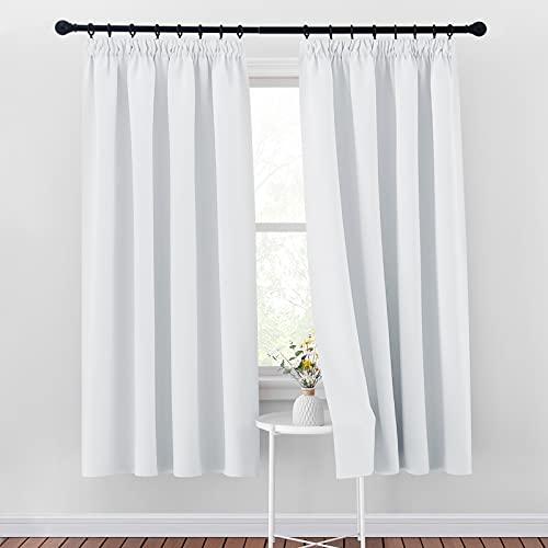 PONY DANCE Vorhang Grau-weiß Blickdicht - 2er Set H 175 x B 140 cm Gardinen mit Kräuselband Verdunklungsvorhänge für Kinderzimmer/Schlafzimmer