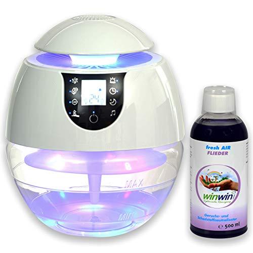 winwin clean Systemische Reinigung - AIR Blow III I Bluetooth I IONISATOR I LED I 3 LEISTUNGSSTUFEN I INKL. LUFTREINIGUNGS-Konzentrat Fresh AIR \'Flieder\' 500ML