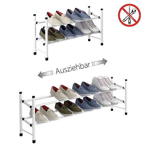 TZAMLI Ausziehbar Schuhregal mit 2 Ebenen zur Aufbewahrung von bis zu 12 Paar Schuhen, Verstellbarer...