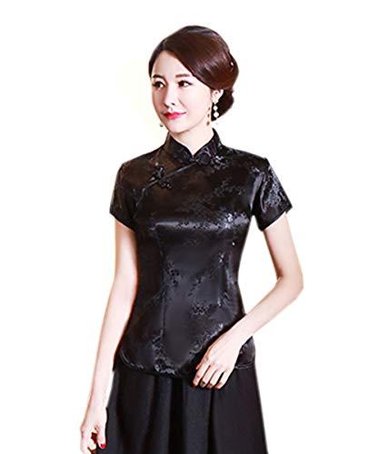 Yue Lian Damen Elegant Bluse Blumendruck Sommer Kurz?rmlige Cheongsam Stil Oberhemd Shirt Top(Schwarz,3XL:EU 42)