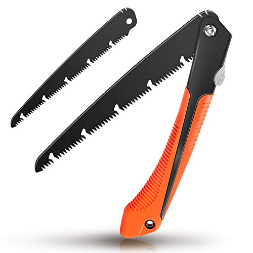 Hand Pruning Saw, GOXAWEE 10- inch Folding Saw with A Replaceable Sharp Blade for Gardening Camping Cutting Tree, Wood