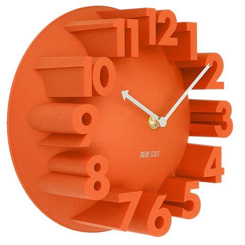 SODIAL(R) Home Decor Creative Modern Art 3D Number Dome Round Wall Clocks, Orange 22.5 * 22.5 * 9cm