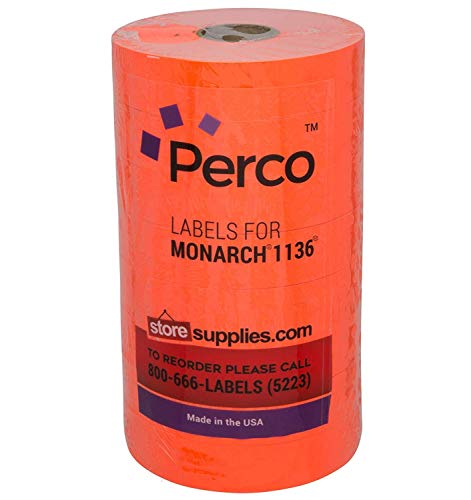 Fluorescent Red Pricing Labels for Monarch 1136 Price Gun – 8 Rolls, 14,000 Pricemarking Labels