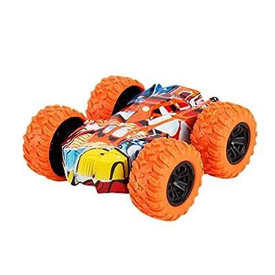 Inertia-Double Side Stunt Graffiti Car Off Road Model Car Vehicle Kids Toy Gift (Orange, 1 PC)