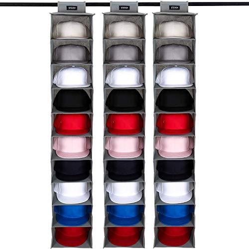 3 Pack STEVOY Hat Organizer For Baseball Caps, Hat Rack with Dust Shield and Side Pockets, 10 Shelf Hanging Closet Hat Shelf for Shoe & Cap Storage, Dust Proof Hat Holder Cap Organizer