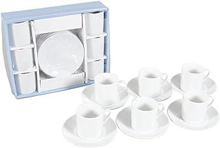 Set de tasses à café avec soucoupe et céramique blanche – Ensemble moderne de café – Set cadeau de café tasses à expresso,...