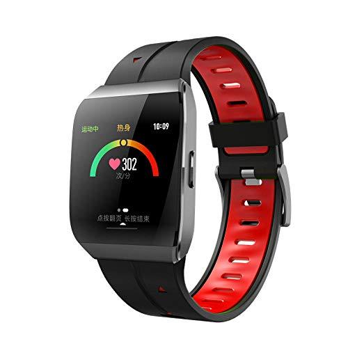 NUNGBE Braccialetto Intelligente con cardiofrequenzimetro ECG, Pressione sanguigna, Braccialetto Fitness Tracker IP68 Smart Fashion Watch-Red