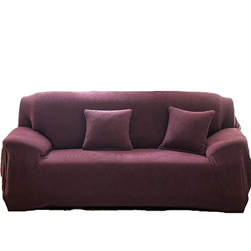 MKMKL Funda de sofá elástica gruesa de color puro, serie de color oscuro, cubierta completa, funda para sofá modular antideslizante, marrón, XXL