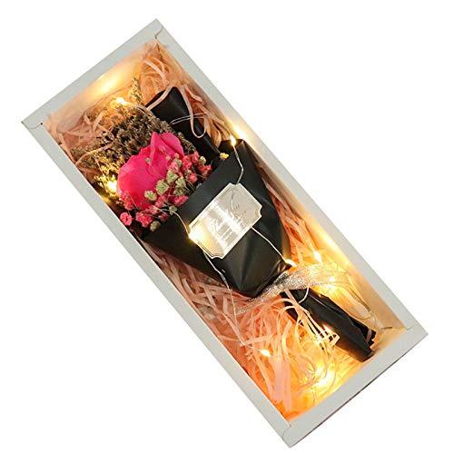 Shanji Flores artificiales Gypsophila con caja de regalo, flores secas naturales para decoración del hogar
