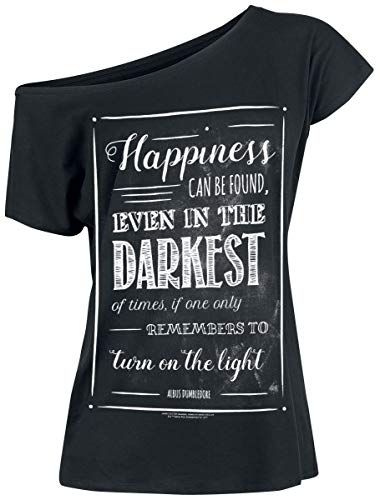 HARRY POTTER Albus Dumbledore - Happiness Can Be Found Mujer Camiseta Negro S, 100% algodón, Ancho