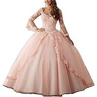 XUYUDITA Mujeres V-Cuello Encaje Aplique Dulce 16 Vestido de Baile Vestido Quinceanera Rosa-38