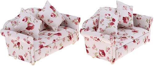 6 Piezas 1/12 Flor en Miniatura Doble Cojines de sofá sofá casa de muñecas artículos de habitación Muebles Modelo Colecciones