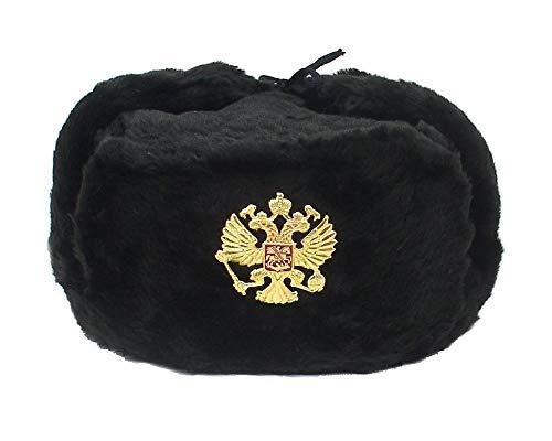 Russian Army KGB Military Fur Hat UshankaBLACK/M w/Imperial Eagle Crest Badge