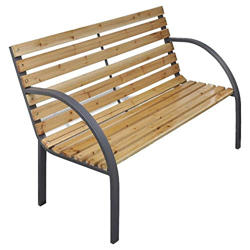 Garden Bench, 112 cm Classic Wooden Garden Seat Elegant Sturdy Durable Outdoor Garden Stool for Outside Backyard, Patio, Park