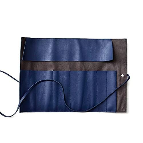 JUNTOP Tragbare Aufbewahrungstasche für Federmäppchen Retro Kreativität Leder Rollladen Shutter Schreibwaren Aufbewahrungsschutztasche Multi-Customized Stiftvorhang (Color : Blue, Size : Multi Stick)