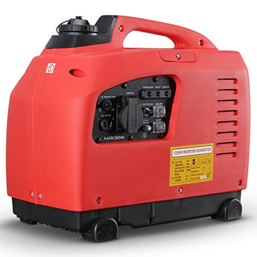 ARKSEN 1250W Portable Gas-Powered Quiet Inverter Generator Outdoor Gasoline EPA CARB Compliant Red Generators