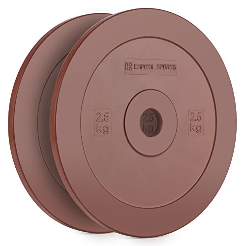 CAPITAL SPORTS Methoder Discos de técnica Discos de peso goma dura amortiguadora (Pareja 2,5 kg, resistentes sin dañar suelo, entrenamiento weight-drops, Cross-Training, barras olimpicas, rojo)