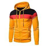 Loiy Sudadera con capucha para hombre, de invierno, con cremallera, básica, de manga larga, informal, con capucha, amarillo, XL
