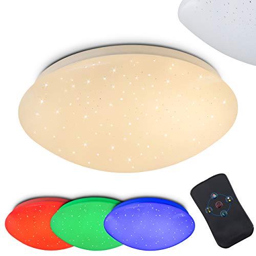LED Deckenleuchte Quebec, dimmbare Deckenlampe aus Metall in Weiß, mit Nachtlichtfunktion, 8 Watt, 615 Lumen, 3000 Kelvin, mit RGB Farbwechsler u. Fernbedienung, Sternenhimmel-Effekt