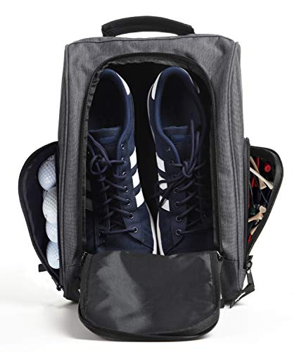 Athletico Golf Shoe Bag - Zippered Shoe Carrier Bags with Ventilation & Outside Pocket for Socks, Tees, etc. (Gray)