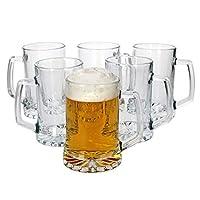 mambocat - set di 6 boccali da birra con manico, 380 ml, grande manico con fondo a stella, boccale da birra oktoberfest