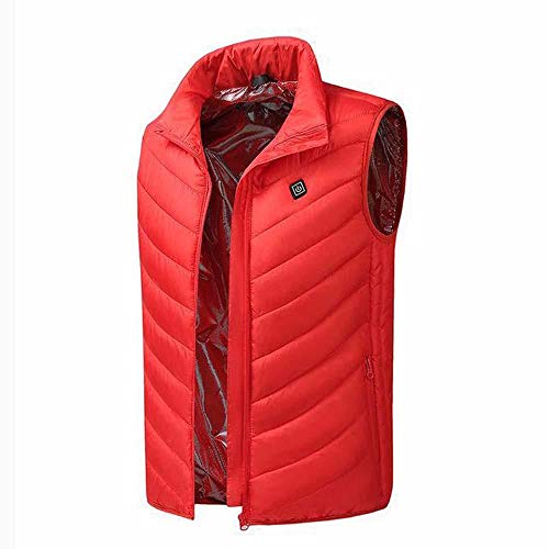 bjyxszd Aktualisiert Beheizbare Weste Elektrische Beheizte Jacke,Intelligente USB-Ladeheizweste, große Jacke zum Warmhalten und Erhitzen von Winterbaumwollkleidung-rot_8XL