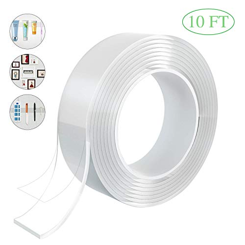 Beanlieve Reusable Traceless Tape,Multifunction Nano Movable Washable Tape,Double Sided Tape for Paste Photos and Posters, fix Carpet mats and Table, Paste Items (10 FT (3)