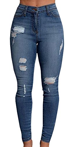 pxmoda Mujer Denim Stretch Jeans Skinny Ripped Distressed pantalones, Size X-Large, Multicoloured