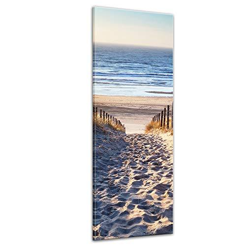 Bilderdepot24 Bild auf Leinwand | Schöner Weg zum Strand H-III in 40x120 cm als Panorama Wandbild XXL | Wand-deko Dekoration Wohnung modern Bilder | 201095B