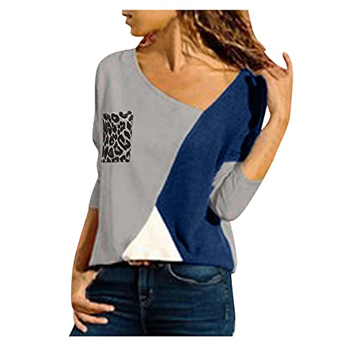 riou Sudadera para Mujer Moda Manga Larga Otoño Primavera Casual Camiseta Costura Color de Contraste Top Cuello Redondo Camisas Blusa Túnica Jersey Suéter