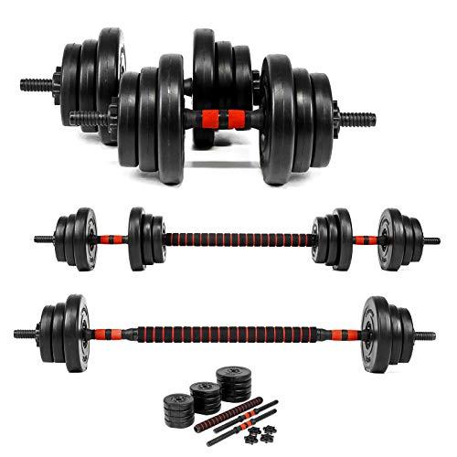 Xylo Sapphire 20kg Lang- Kurzhantel Hantel Set Gewichte Hantelscheiben Krafttraining 2 in1 Hantelset Kurzhantelstange Langhantelstange inkl. 12 Hantelscheiben Home Gym