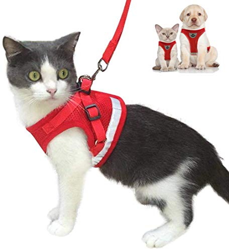 Cat Harness and Leash Escape Proof and Dog Harness Adjustable Soft Mesh Vest Harness for Walking with Reflective Strap for Pet Kitten Puppy Rabbit -Red,XS