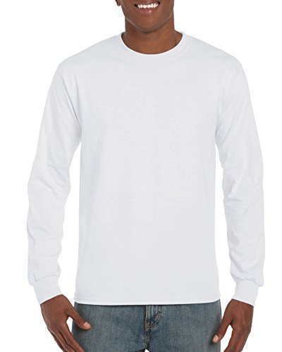 Gildan Men's G2400 Ultra Cotton Jersey Long Sleeve Tee, White, Medium